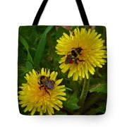 Dandelions And Bees Tote Bag