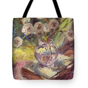 Dandelions Flowers In A Vase Sunny Still Life Painting Tote Bag
