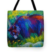 Dandelions For Dinner - Black Bear Tote Bag