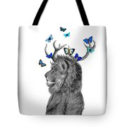 Dandy Lion With Antlers And Blue Butterflies Tote Bag