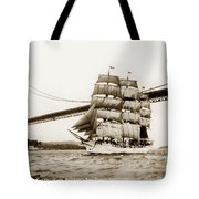 Danmark Sailing Under The Golden Gate Bridge San Francisco Tote Bag