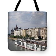 Danube Riverside With Old Buildings Budapest Hungary Tote Bag