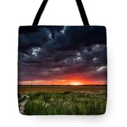 Dark Clouds At Sunset Tote Bag