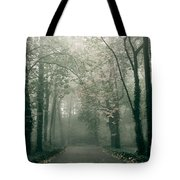 Dark Gloomy Alley In Woods Tote Bag