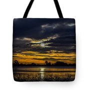 Dark Lake Sunrise Tote Bag