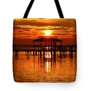 0209 Dark Orange Sunrise On Sound Tote Bag
