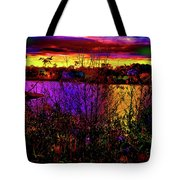 Dark Psychedelic Sunset Tote Bag