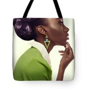 Dark Skinned Woman In Updo With Big Curls Tote Bag