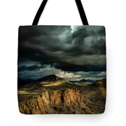 Dark Storm Clouds Over Cliffs Tote Bag