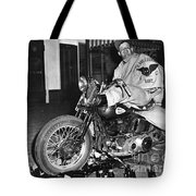 Dave On A Harley Tulare Raiders Mc Hollister Calif. July 4 1947 Tote Bag