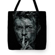 David Bowie Text Portrait - Typographic Poster With Album Titles And Background With Songs Names Tote Bag
