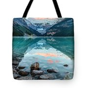 Dawn At Lake Louise Tote Bag