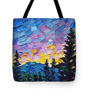 Dawn Behind The Mountains Tote Bag