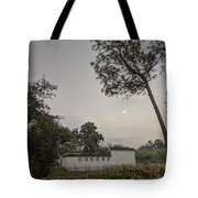 Dawn Moon Over Chinese Garden Singapore Tote Bag