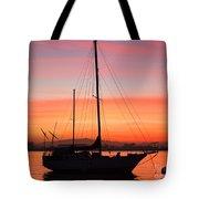 Dawn Of The Sailboat Tote Bag