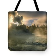 Dawn On Castle Geyser Tote Bag