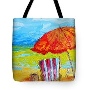 Day At The Beach - Modern Impressionist Knife Palette Oil Painting Tote Bag
