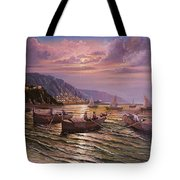 Day Ends On The Amalfi Coast Tote Bag by Rosario Piazza