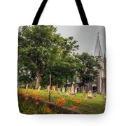 Day Lilies By A Church  Tote Bag