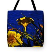 Day Lilies By The Water Tote Bag