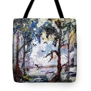 Daybreak In The Okefenokee Tote Bag by Ginette Callaway