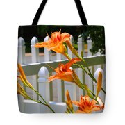 Daylilies On Picket Fence Tote Bag