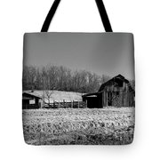 Days Gone By - Arkansas Barn In Black And White Tote Bag