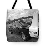 Daytona Charger In Black And White Tote Bag