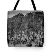 Dead Lakes Cypress Stumps Bw  Tote Bag