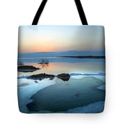Dead Sea Shallow Waters At Dawn Tote Bag