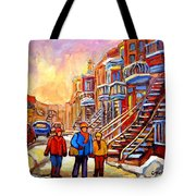 Debullion Street Winter Walk Tote Bag