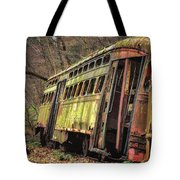 Decaying Trolley Cars Tote Bag