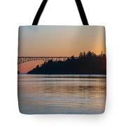 Deception Pass Bridge Sunset Sunstar Tote Bag