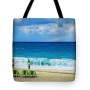 Deck Chairs And Distant Rainbow Tote Bag