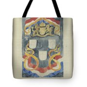 Decorative Design With The National Coat Of Arms, Flags And Banners, Carel Adolph Lion Cachet, 1874  Tote Bag