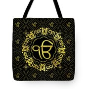 Decorative Gold Ek Onkar / Ik Onkar  Symbol Tote Bag