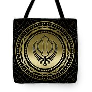 Decorative Khanda Symbol Gold On Black Tote Bag