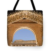 Decorative Moorish Architecture In The Nasrid Palaces At The Alhambra Granada Spain Tote Bag