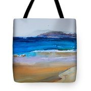 Deep Blue Sea And Golden Sand Tote Bag