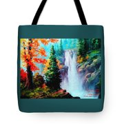 Deep Jungle Waterfall Scene. L A  Tote Bag