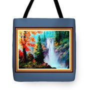 Deep Jungle Waterfall Scene L A With Alt. Decorative Ornate Printed Frame. Tote Bag