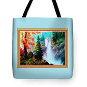 Deep Jungle Waterfall Scene L B With Decorative  Ornate Printed Frame. Tote Bag
