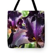 Deep Purple Irises Dark Purple Irises Summer Garden Art Prints Tote Bag