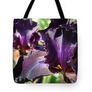 Deep Purple Irises Dark Purple Irises Summer Garden Art Prints Tote Bag