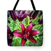 Deep Red Lillies Tote Bag