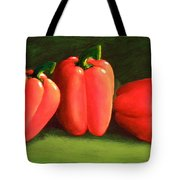 Deep Red Peppers Tote Bag