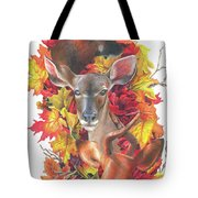 Deer And Fall Leaves Tote Bag