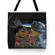 Deer And Girl Tote Bag