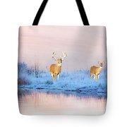 Deer At Winter Pond Tote Bag