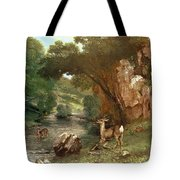 Deer By A River Tote Bag